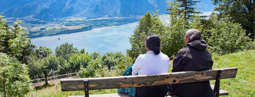 Parents looking over Lake Geneva from Caux