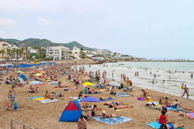 A popular beach in Sitges