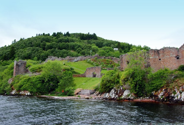 Urquhart castle Scotland as seen from Loch Ness