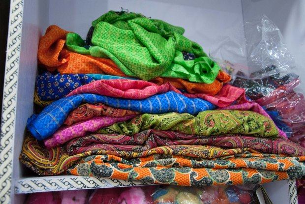 Sample of the clothes stacked in a Dhaneti store